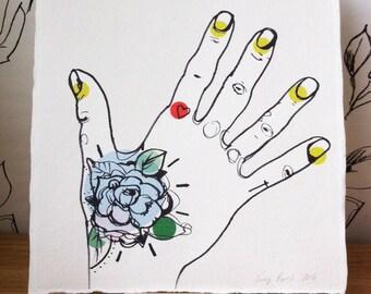 Colour Tattooed Hand Illustration Print