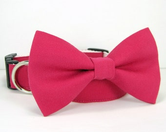 Wedding dog collar-Bright Fuchsia Dog Collars with bow tie set  (Mini,X-Small,Small,Medium ,Large or X-Large Size)- Adjustable