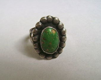 vintage green turquoise flower ring, size 6.25