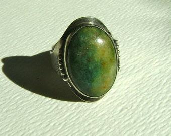 adjustable vintage sterling handmade ring, serpentine?