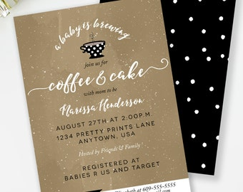 Baby Is Brewing Invitation, Coffee and Tea Shower, Baby Shower Brunch, Gender Neutral, Coffee and Cake, Coffee Baby Shower, #H8