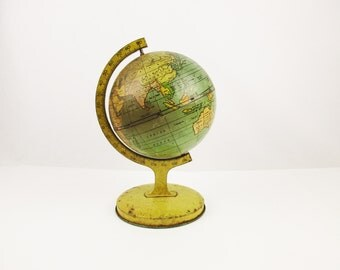 "1920s to 30s Vintage 5"" Metal Globe - Teal Blue Oceans - Small Metal Globe - Vintage Patina - Metal Litho Images -  Small All Metal Globe"