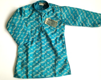 Vintage kids kaftan dress Turquoise Golden tunic dress Long sleeve ethnic tunic Kids tunic Made in India