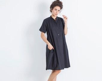 Plus Size Clothing, Tunic Coverup, Black Tunic Shirt, Cotton Tunic, Boho Chic Shirt, High Fashion Tunic, Designer Dress, Loose Dress