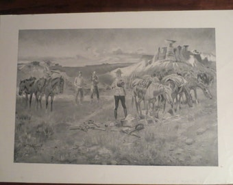 1913 C.M. Russell Artist's Proof SALE  12x17 Great Condition Signed, Black and White