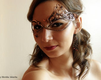 Masquerade Mask II- wire wrapped mask, handmade, copper