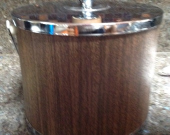 Vintage Mid Century Kromex Faux Walnut & Chrome Ice Bucket