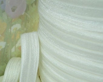 5yds Elastic Ribbon Fold Over off White Shiny Baby HeadBands  1/2 inch FOE Stretch Trim raw white elastic by the yard