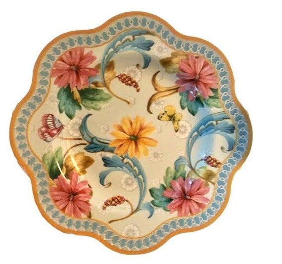 Spode Plates, Exotic Garden Spode Daisy Lunch Plates Set of 4, Vintage Butterflies and Flowers Design