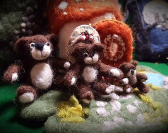 Needle Felted Teddy Bear Family, Papa Bear, Momma Bear, Baby Bear, Wool Teddy Bear