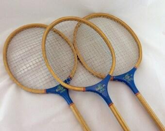 Vintage Wood Badminton Racquets, Blue Badminton Racquets, Game Room Decor