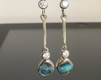 VIDEO....Artisan Australian Boulder Opal & Cubic Zirconia Earrings On Sterling Silver