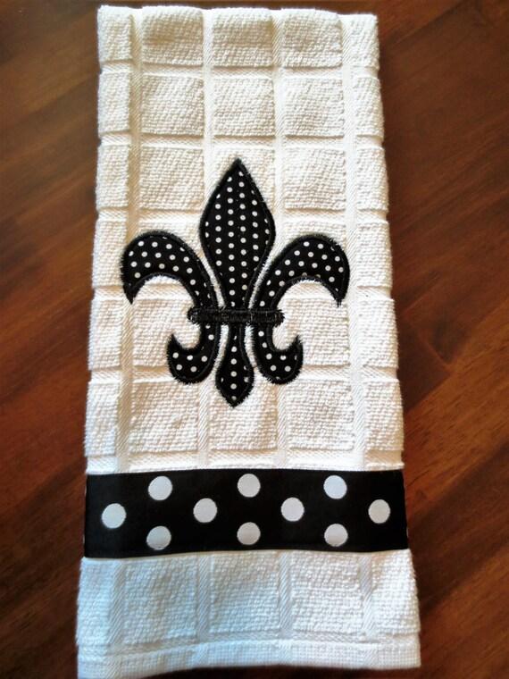 Fluer de lis kitchen towel machine embroidery appliqued