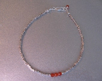 Carnelian Gemstones and Karen Hill Tribe Silver Bracelet  -ToniRaeCreations