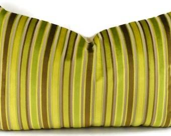 SALE!! Throw Pillow Cover, Mid-Century Modern Green, Gold & Brown Stripe Cut Velvet Lumbar Pillow Cover, Lumbar Pillow, 14x22