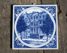 Blue Delft Tile Anne Frank House Amsterdam Anne Frankhuis Collectible Blue Delft Euro Ceramic Anne Frank Souvenir