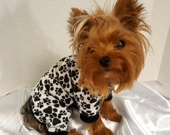 Dog Pajamas,  Black and White Paw Print