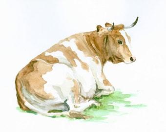 Cow, 10 X 8 in, original watercolor painting