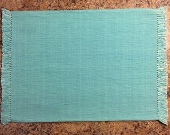 Turquoise Placemats..FREE MONOGRAM..Set of 2..Handloom Cotton Place Mats..Gift
