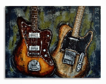 Guitar painting // Music art // Large guitar art // Gift for a musician // Original textured  guitar painting on canvas - MADE TO ORDER