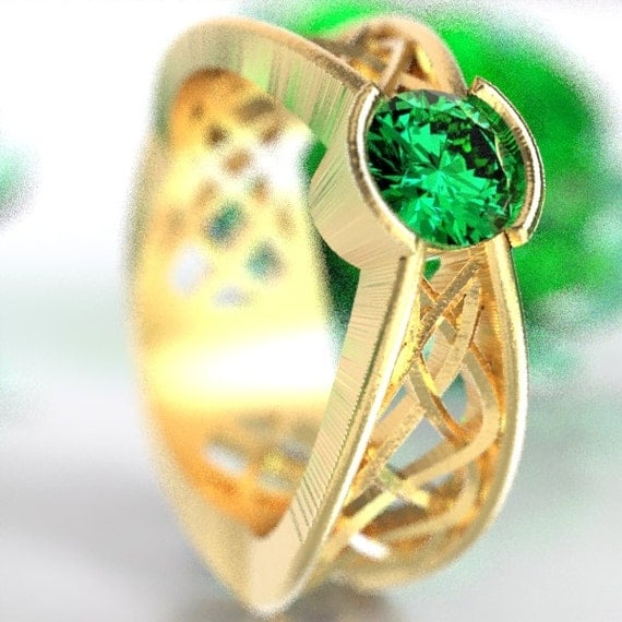 Celtic Emerald Ring With Interweave Knot Design in 10K 14K 18K Gold, Palladium or Platinum Made in Your Size CR-277b