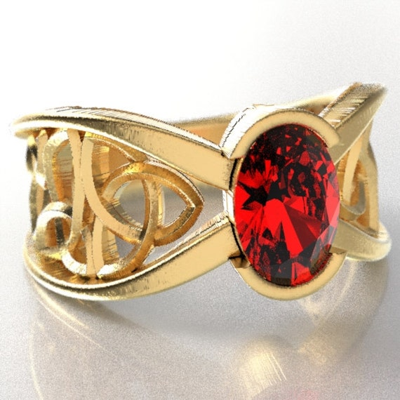 Gold Celtic Wedding Ring With Ruby and Trinity Knotwork Design in 10K 14K 18K, Palladium or Platinum Made in Your Size Cr-1023