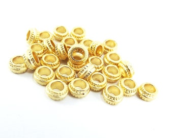 30 NEW 7mm x 3mm Round Ribbed 22k Matte Gold Plated Beads Spacers