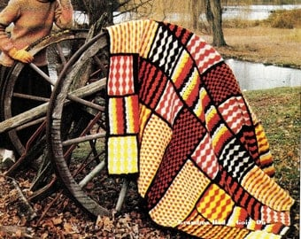 CROCHET Patchwork Afghan PATTERN - Block Crazy Quilt Afghan - Instant Download PDF - Digital Pattern - Crochet Blanket - Couch Throw