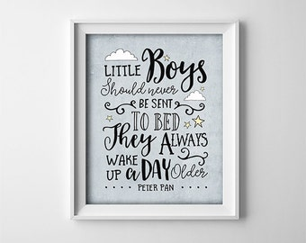 Peter Pan Nursery Art - PRINTABLE - Little Boys Should Never Be Sent To Bed - Twins - Baby shower gift - Brothers - Blue Grey - SKU:556