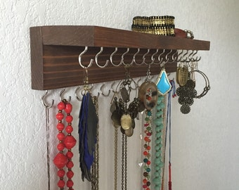 Double Necklace Holder, Jewelry Organizer - Stained Wood, 2 inch, 28 hooks