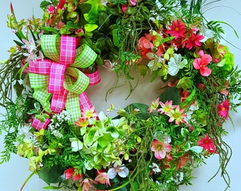 Pink Green Grapevine Wreath, Pink Wreath, Floral Wreath, Summer Front Door Wreath, Summer Decor, Luxurious Wreath Green Wreath, Spring