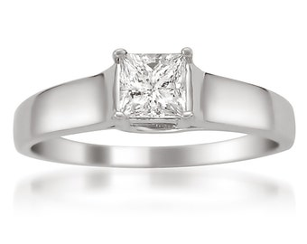 14k White Gold Certified Princess-cut Diamond Solitaire Engagement Ring (3/8 cttw, H-I, I1)