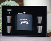 Set of 6, Groomsmen Gift, Flask Gift Set - Personalized Flask, Engraved Flask, Personalized Shot Glasses - Gift for Groomsmen, Best Man Gift