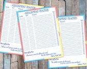 Assignment Tracker    Homework Tracker    Academic Planner    School Planner    Instant Download PDF    Cotton Candy