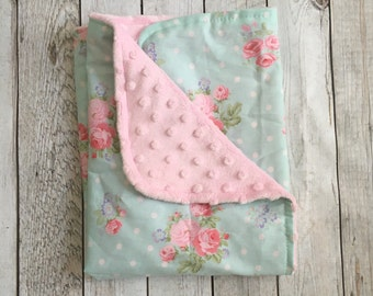 FLORAL LOVEY Girl's Baby Blanket Lovey Shabby Chic Carseat Blanket Pink Blue Minky Baby Shower Gift BizyBelle
