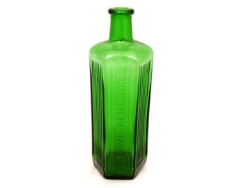 "Large 9"" Green Apothecary Bottle, Poison Bottle, Antique Apothecary Jar, Medicine Bottle, Glass Bottle, Chemist Bottle, Not To Be Taken"