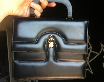 FREE SHIPPING 60s Black vegan leather handbag