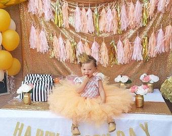 Happy Birthday Banner - Gold Glitter Birthday Sign - Glitter Birthday Banner - First Birthday Party Decor - Gold First Birthday Decor