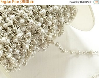 40% OFF 3 Feet  Freshwater Pearl 3mm Sterling Silver Wire Wrapped Chain By Foot Wholesale-CHGS-FWPSS