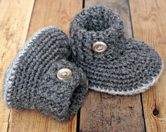 Baby booties shoes crochet dark grey