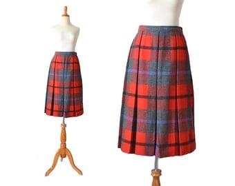 Plaid Skirt, Christmas Skirt, Wool Skirt, 1950s Skirt, Red Skirt, Pleated Women Skirt, Vintage Clothing, Holiday, Small Skirt, XS Skirt