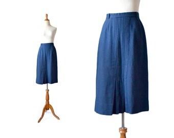 Blue Pencil Skirt, Blue Skirt, Vintage Skirt, Wool Skirt, Kickpleat Skirt, Navy Blue Skirt, Womens CLothing, Bottoms 1940s 40s  skirt