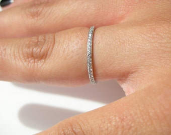 Thin Platinum Eternity Diamond Ring Wedding Band Stacking