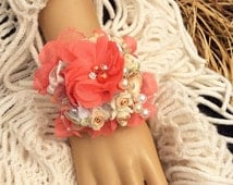 Peach&Coral Wrist Corsage-Corsage for Prom-Bridal Corsage-Wedding Corsage-Fabric Corsage-Jewelry Corsage-Bracelet Corsage-Prom Wrist Corsage