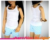 BJD MSD 1/4 Doll Clothing - Pajama Set - Monochrome Plaid - 3 Colors to Choose