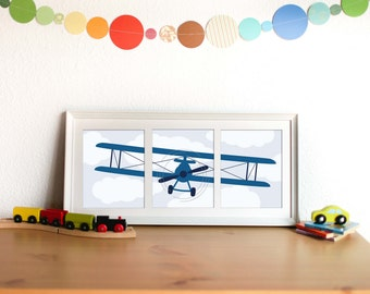 INSTANT DOWNLOAD Airplane Art Print Set - Cobalt and Navy, Set of 3 printables