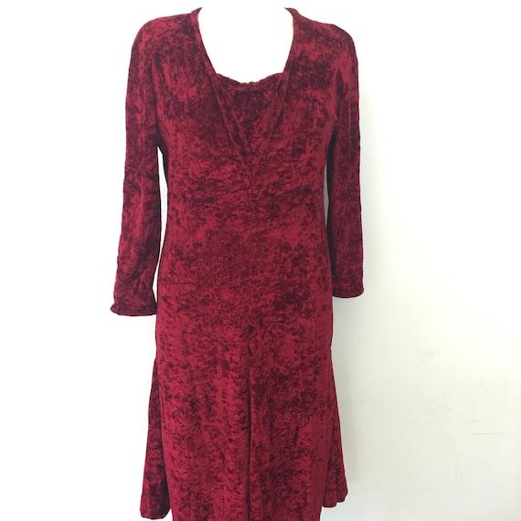 1930s style dress crushed red velvet dress deep burgandy claret vamp dress repro dancing dress 1980s stretch velvet UK 10 12 1920s re enact