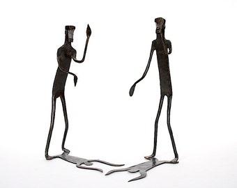 Metal Art - Metal Sculptures - Brutalist Sculpture - Metal Sculpture Art - Shadow Men Sculpture - Tribal Men Figures