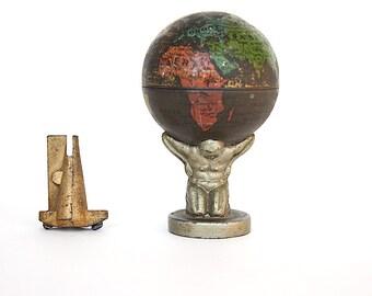 Atlas Holding Earth Globe - Vintage Globe Decor - Cool Gift - Fun Office Decor - Antique World Globe - Miniature World Globe - Metal Globe
