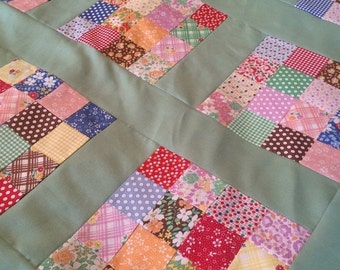 15% OFF SALE 30's Reproduction with Poison Green Chloes Closet Quilt Top 36x48